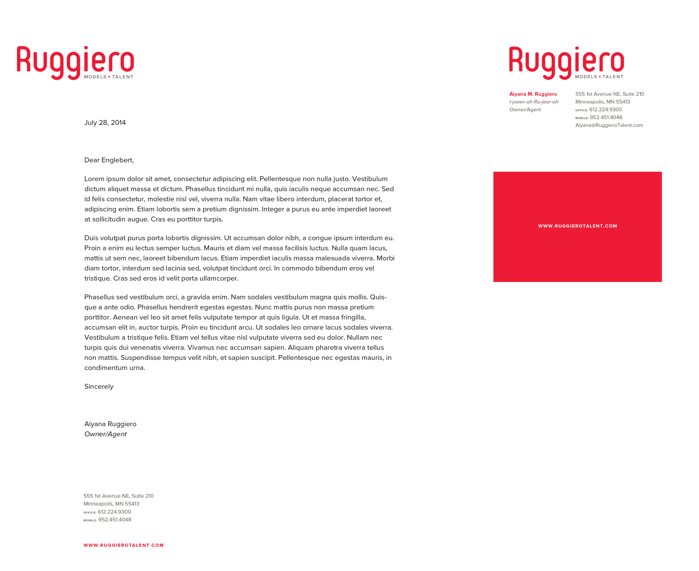 Ruggiero Models & Talent Stationery